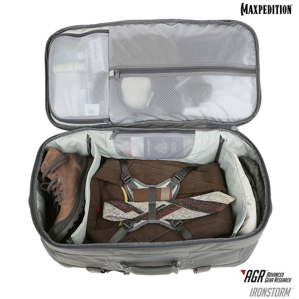 Maxpedition's Ironstorm Adventure Travel Bag comes with an internal compression bib for securing contents.