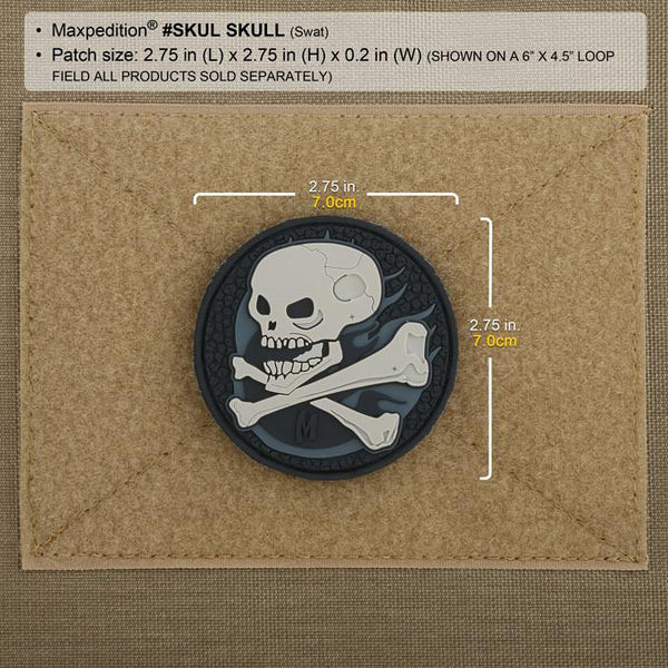SKULL PATCH - MAXPEDITION, Patches, Military, CCW, EDC, Tactical, Everyday Carry, Outdoors, Nature, Hiking, Camping, Bushcraft, Gear, Police Gear, Law Enforcement