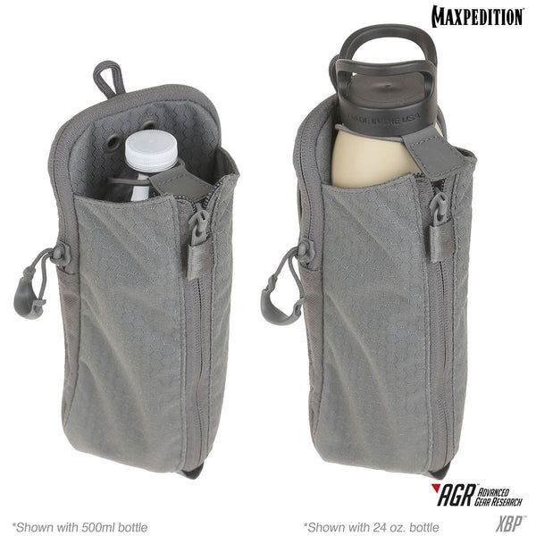 XBP Expandable Bottle Pouch - MAXPEDITION, Water Carrier, Attachable Bottle Carrier, Outdoor, Tactical, Adventure gear, low profile, fits most bottle sizes.