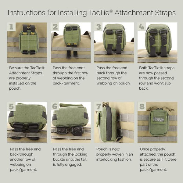 "3""TacTie (Pack of 4) - Maxpedition, Molle, PALS, ATLAS compatible, Attachment, Tool-free"