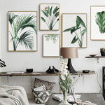 Watercolor Green Plants Canvas Paintings For Office Wall Art