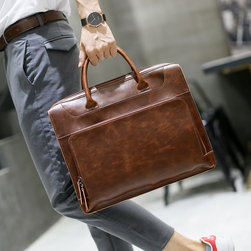 Unisex Leather 14 Inch Business Briefcase