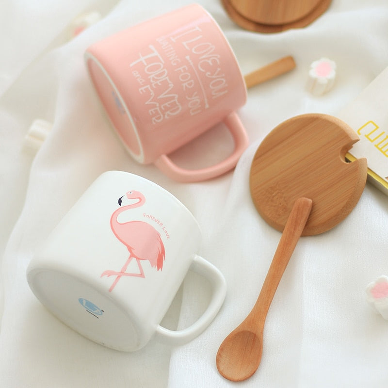 New! Cute Pink Flamingo Ceramic Coffee Mug with Lid & Spoon