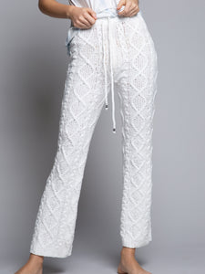 LOUNGE Pants in White Cable