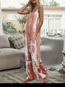 Tie Dye Jumpsuit in Peach
