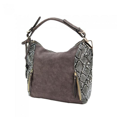Reptic Concealed Carry Purse: Grey & Brown w-Snakeskin