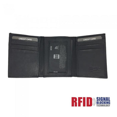 Leather Wallet Trifold w- RFID Protection