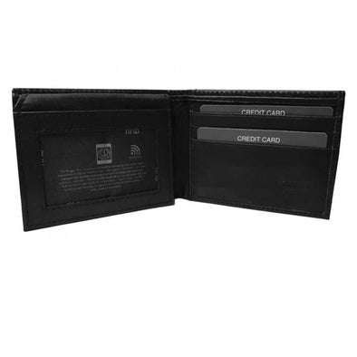 Leather Wallet Bifold w- Side Flap and RFID Protection