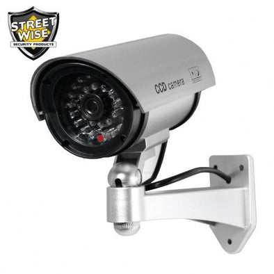 5 Inch IR Dummy Camera Silver - Streetwise Security Products Fake Cameras | EM Self Defense and Security - best self defense tools for women, aftermarket gun parts, home security system tools