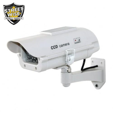 Dummy Camera in Outdoor Housing W Solar Powered Light - Streetwise Security Products Fake Cameras | EM Self Defense and Security - best self defense tools for women, aftermarket gun parts, home security system tools
