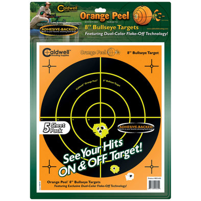 "Caldwell Orange Peel Targets 8"" Self-adhesive Bullseye - 5 Pack"
