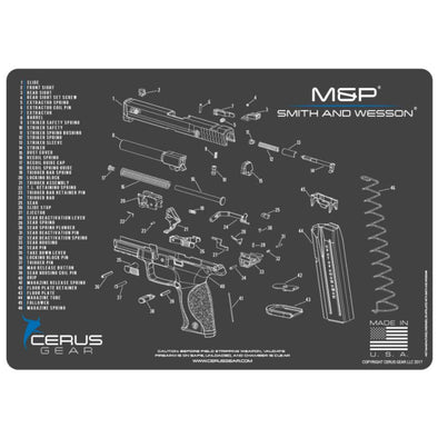 Smith & Wesson M&p Schematic Handgun Promat - Charcoal Gray-cerus Blue