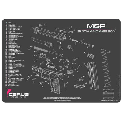 Smith & Wesson M&p Schematic Handgun Promat - Charcoal Gray-pink