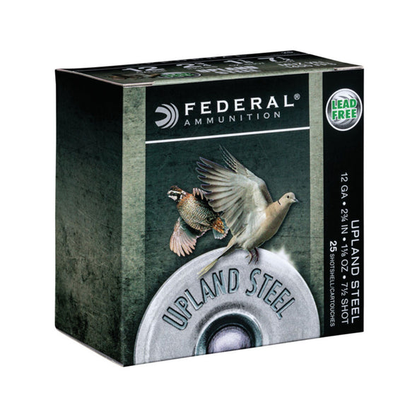 "Upland Steel Shotshells - 12 Gauge, 2 3-4"", 1 1-8 Oz, 7.5 Shot, 25-bx"