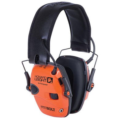 Impact Sport Bolt Electronic Earmuff Orange Nrr 22 Db - Howard Leight Shooting | EM Self Defense and Security - professional gun cleaning kit, hunting backpack with gun holder, 12 gauge cleaning kit, Picatinny rail torch, standing bipod