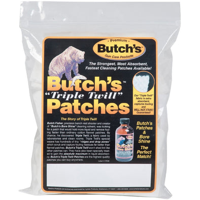 Butchs Triple Twill Patches - 2-1?2 Sq. - 45-58 Cal, .410 - 20 Ga. - Bag Of 375