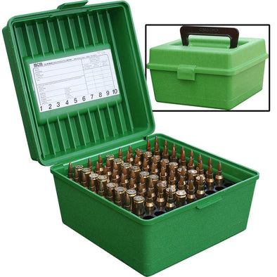 Deluxe R-100 Series Small Rifle Ammo Box - 100 Round - Green - MTM Case-Gard Shooting | EM Self Defense and Security - professional gun cleaning kit, hunting backpack with gun holder, 12 gauge cleaning kit, Picatinny rail torch, standing bipod