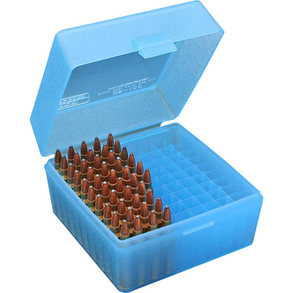 Rs-100 Series Small Rifle Ammo Box - 100 Round - Clear Blue - MTM Case-Gard Shooting | EM Self Defense and Security - professional gun cleaning kit, hunting backpack with gun holder, 12 gauge cleaning kit, Picatinny rail torch, standing bipod