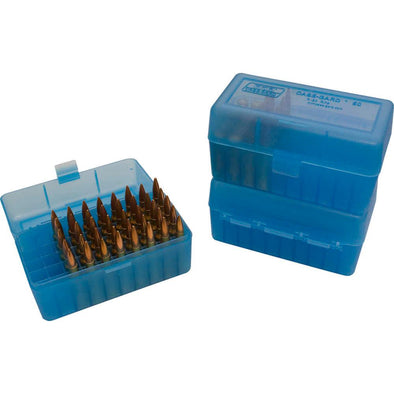 R-50 Series X-small Rifle Ammo Box - 50 Round - Clear Blue - MTM Case-Gard Shooting | EM Self Defense and Security - professional gun cleaning kit, hunting backpack with gun holder, 12 gauge cleaning kit, Picatinny rail torch, standing bipod