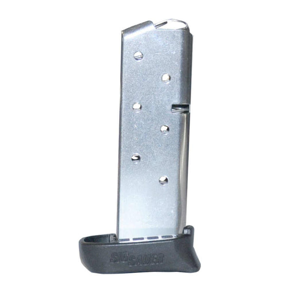 P238 Sig Factory Magazine - .380 Acp, 7 Rounds, Stainless Steel, Extended Fit With Pinky Finger Floorplate - SigArms Shooting | EM Self Defense and Security - factory replacement magazines, pistol high capacity magazines, high quality rifle magazines
