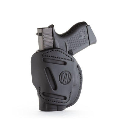 4-way Concealment & Belt Leather Iwb & Owb Holster - Stealth Black - Right Hand - Glock 42-43, Keltec 380, Ruger Lcp, Sig P365, Sw Bodyguard, Most .380s
