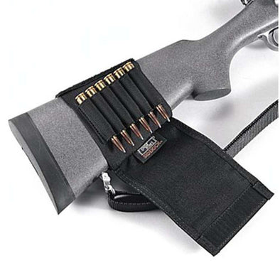 Buttstock Shell Holder - Flap Style, Rifle (6 Loops) - Uncle Mike's Shooting | EM Self Defense and Security - professional gun cleaning kit, hunting backpack with gun holder, 12 gauge cleaning kit, Picatinny rail torch, standing bipod
