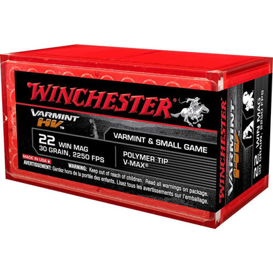22 Win Mag Ammunition 30gr V-max - 50 Rounds