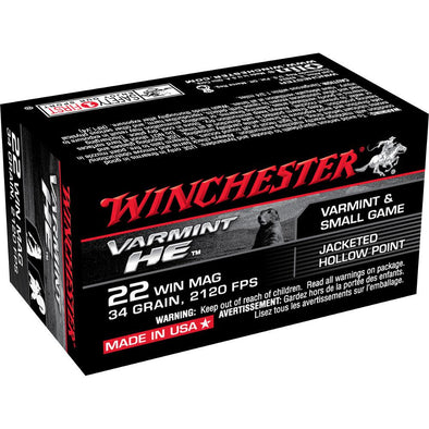 22 Win Mag Ammunition 34gr Jhp - 50 Rounds - Winchester Shooting | EM Self Defense and Security - competition grade ammunition, high quality name brand ammo, inexpensive rifle and handgun ammunition
