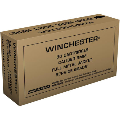 Military Service Grade Ammunition - 9mm, 115gr Fmj - 50 Rounds - Winchester Shooting | EM Self Defense and Security - competition grade ammunition, high quality name brand ammo, inexpensive rifle and handgun ammunition