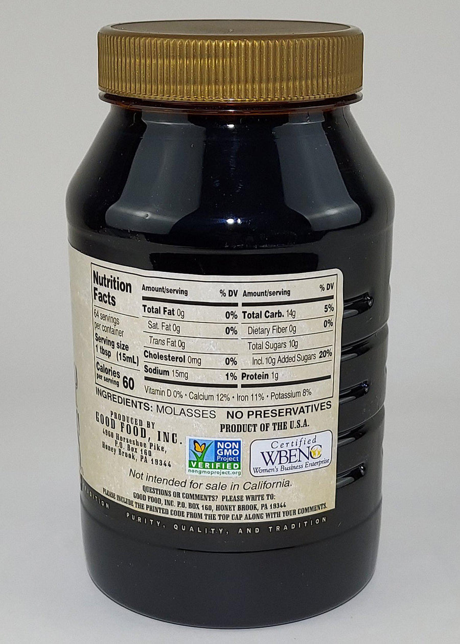 Unsulfured Blackstrap Molasses - 1 Quart