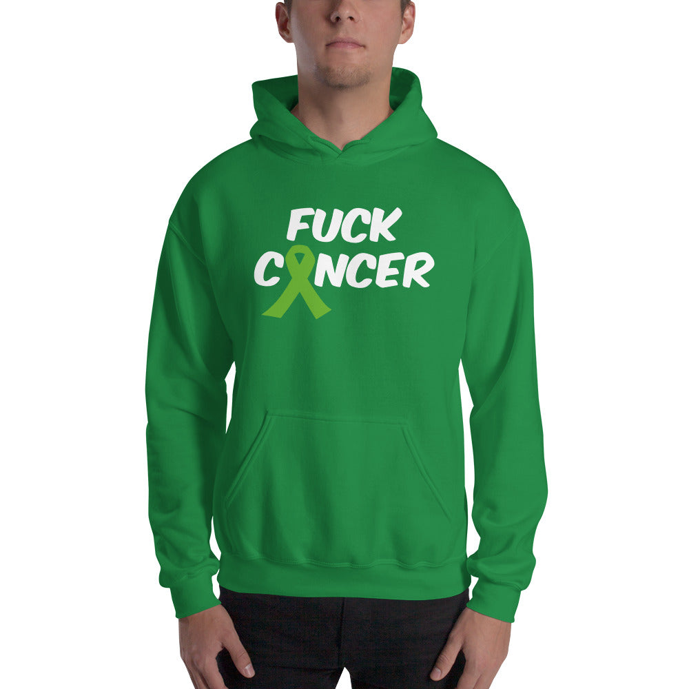 """Fuck Cancer-Lymphoma"" White Font Hooded Sweatshirt"