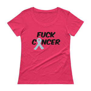 """Fuck Cancer-Prostate Cancer"" Black Font Ladies' Scoopneck T-Shirt"