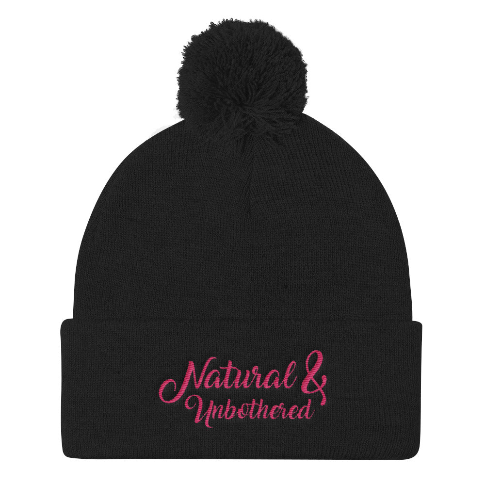"""Natural & Unbothered"" Pom Pom Knit Cap"