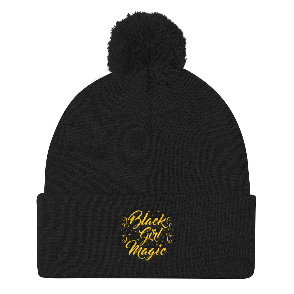 """Black Girl Magic"" Pom Pom Knit Cap"