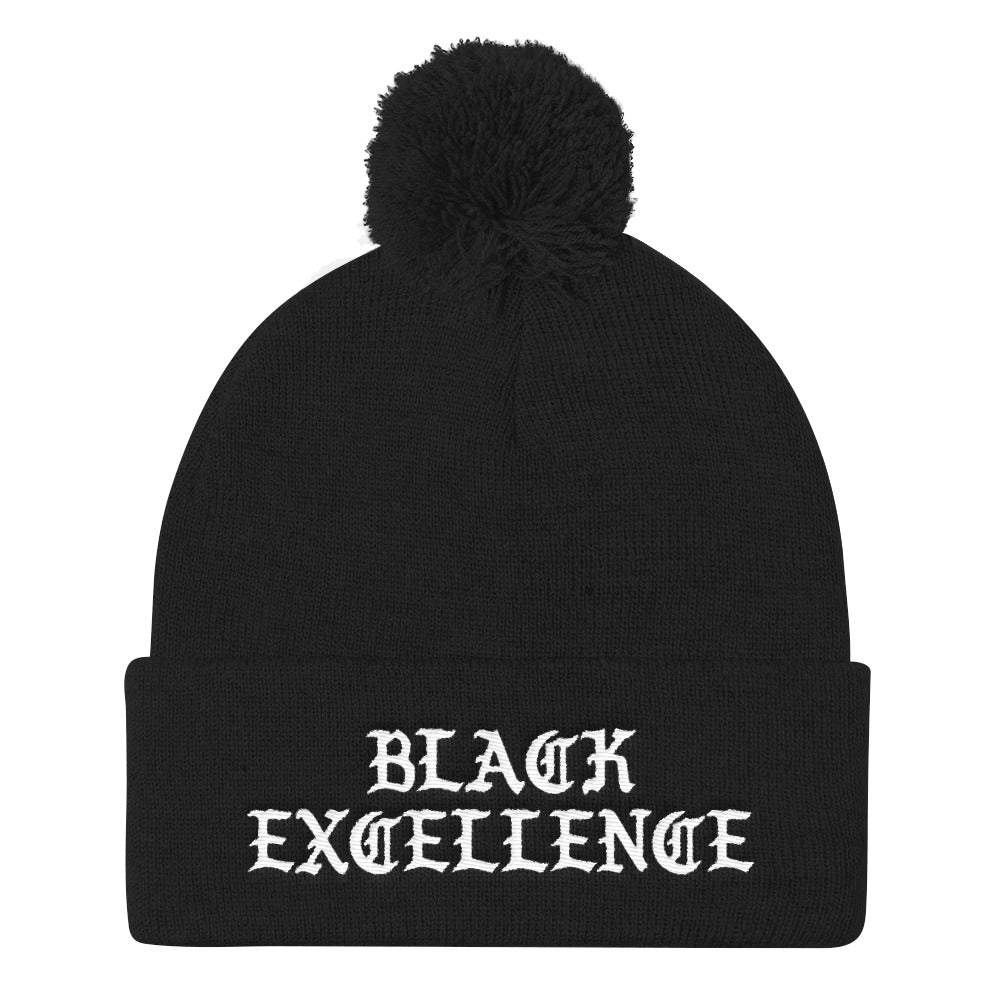 """Black Excellence"" Pom Pom Knit Cap"