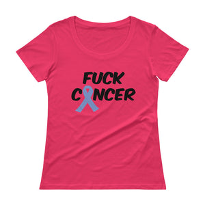 """Fuck Cancer-Stomach Cancer"" Black Font Ladies' Scoopneck T-Shirt"
