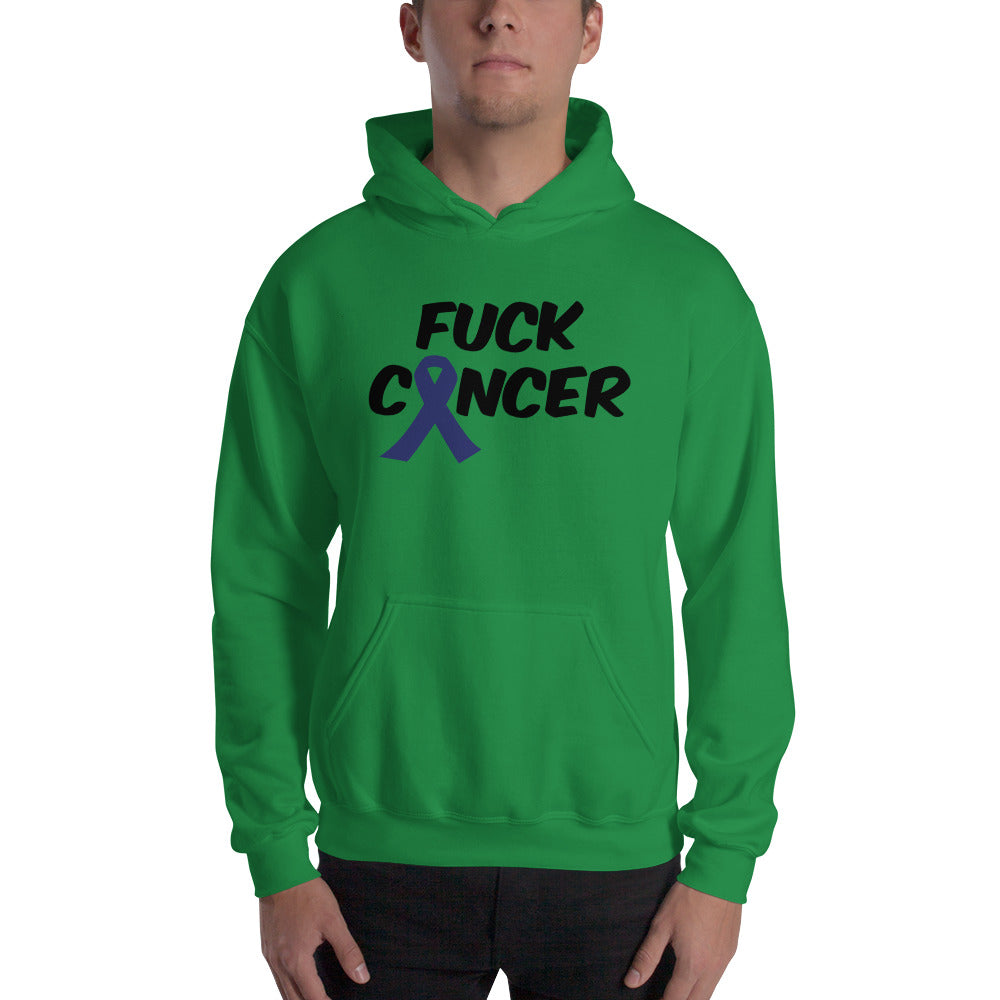 """Fuck Cancer-Colon Cancer"" Black Font Hooded Sweatshirt"