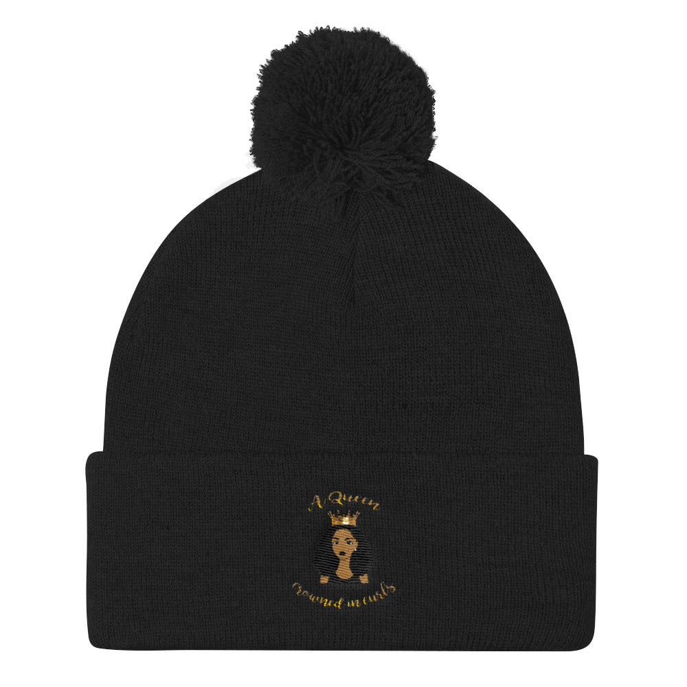 """A Queen Crowned In Curls"" Pom Pom Knit Cap"