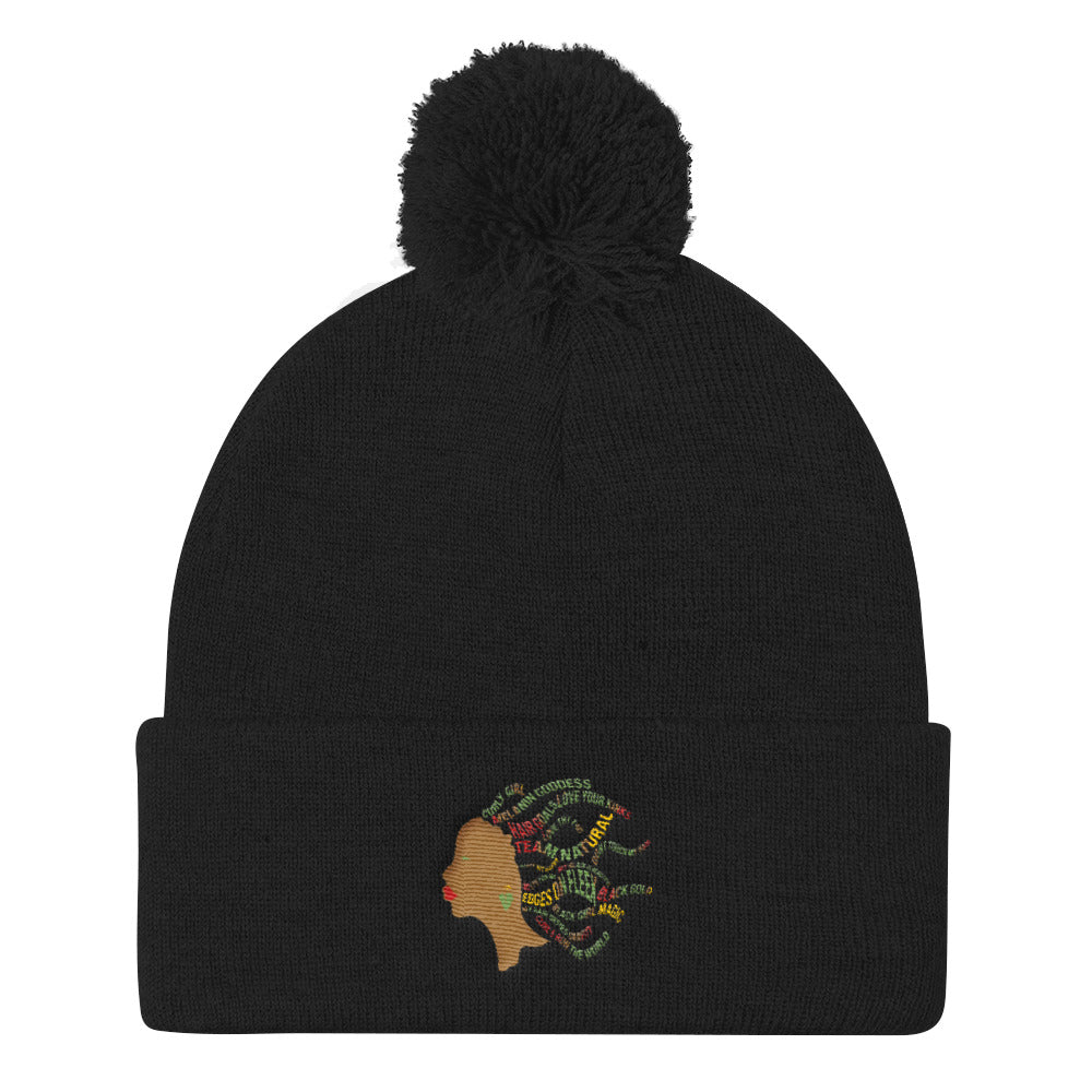 """Team Natural"" Pom Pom Knit Cap"