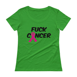 """Fuck Cancer-Breast Cancer"" Black Font Ladies' Scoopneck T-Shirt"