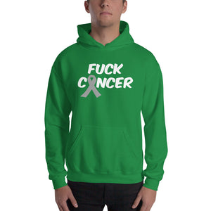 """Fuck Cancer-Brain Cancer"" White Font Hooded Sweatshirt"
