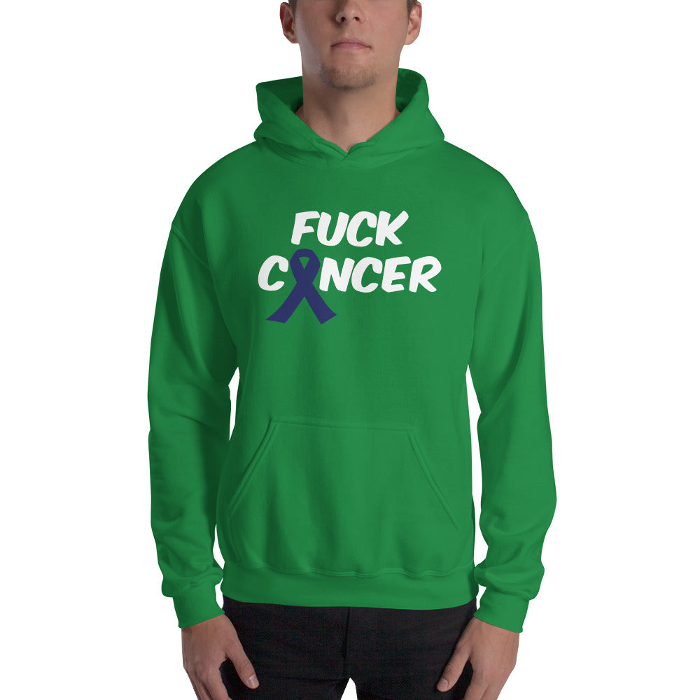 """Fuck Cancer-Colon Cancer"" White Font Hooded Sweatshirt"