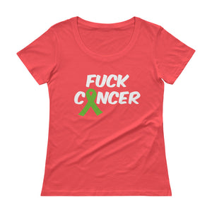 """Fuck Cancer-Lymphoma"" White Font Ladies' Scoopneck T-Shirt"