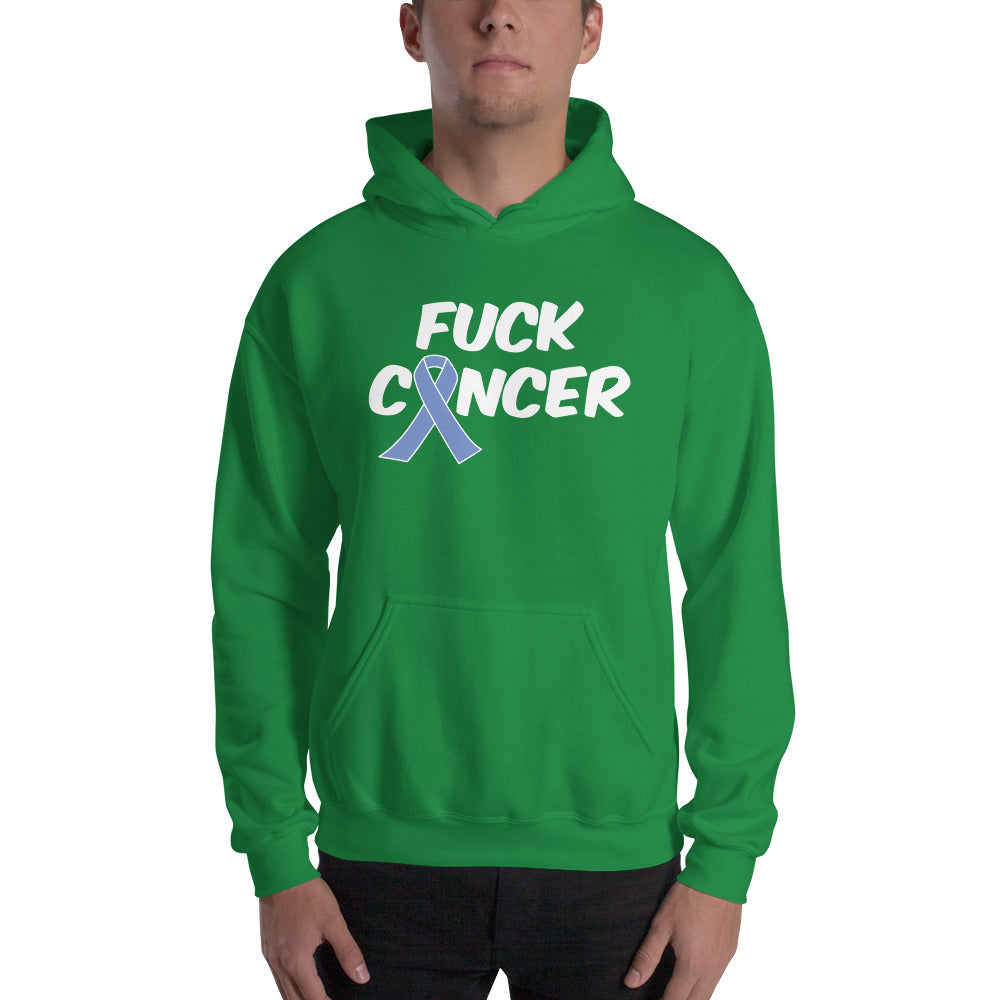 """Fuck Cancer-Stomach Cancer"" White Font Hooded Sweatshirt"