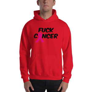 """Fuck Cancer-Breast Cancer"" Black  Font Hooded Sweatshirt"