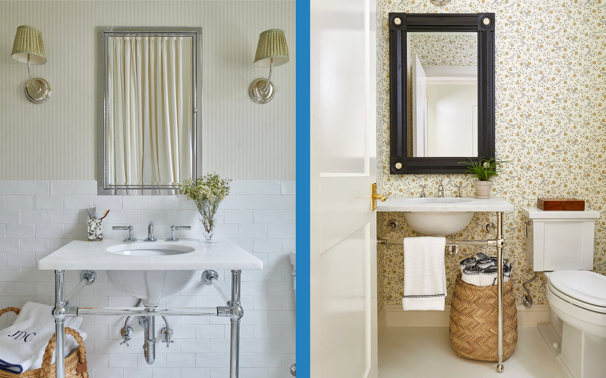 Two sophisticated bathrooms featuring Weezie Towels