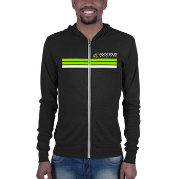 Rock Solid Striped Unisex Zip Hoodie