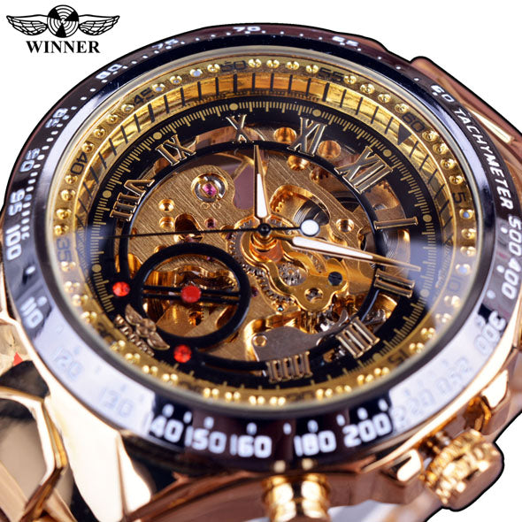 Winner New Number Sport Design Bezel Golden Watch Mens