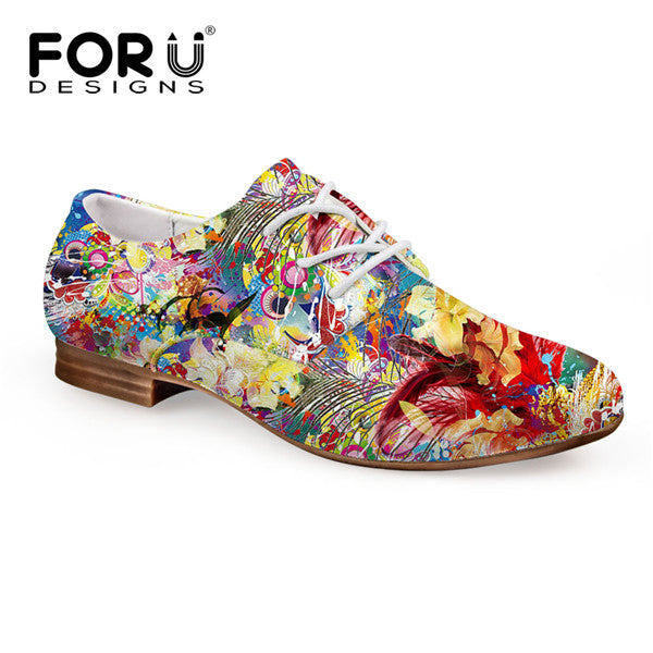 Forudesigns Fashion Women Flat Shoes Casual Leather Oxford