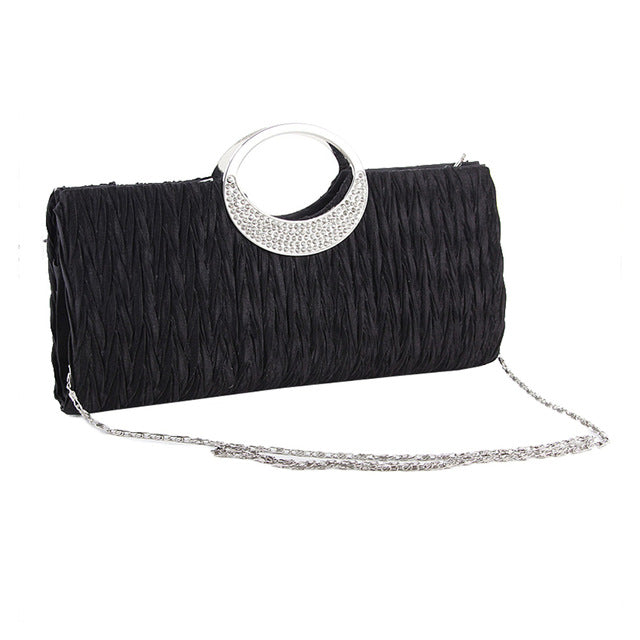 Fashion Women Satin Rhinestone Evening Clutch Bag Chain
